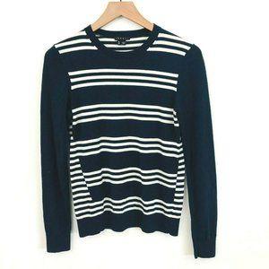 THEORY Navy Blue White Stripe Crewneck Sweater M